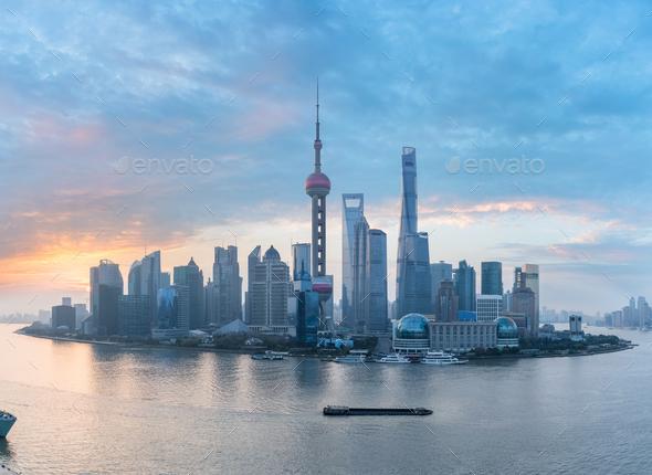 shanghai skyline panorama  - Stock Photo - Images