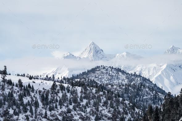 snow mountain landscape - Stock Photo - Images
