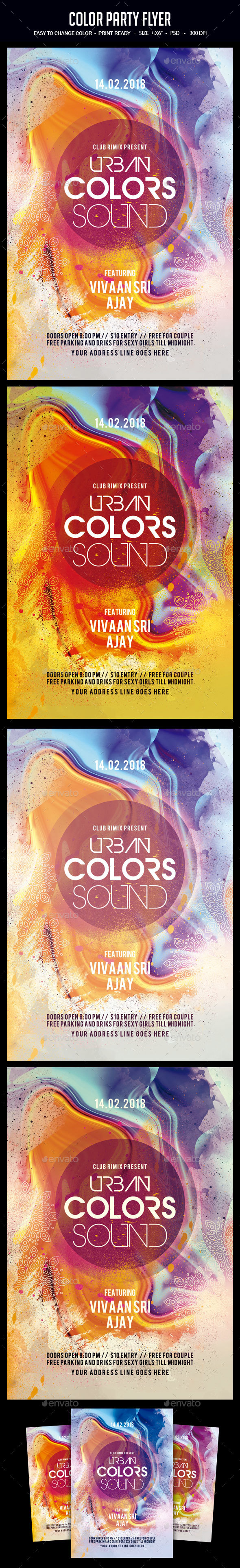 GraphicRiver Color Party Flyer 21100920
