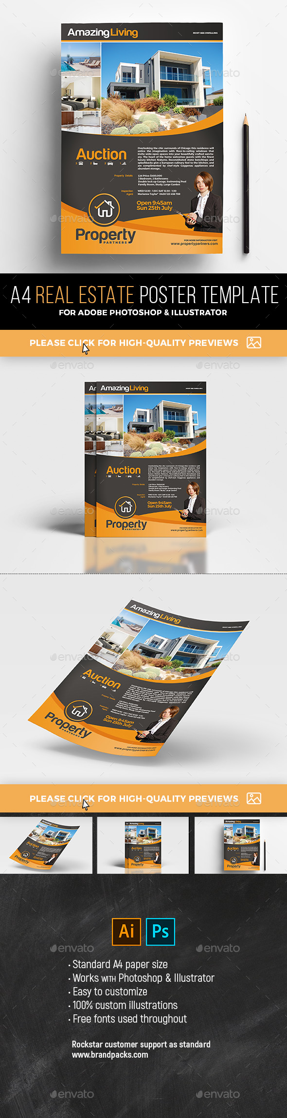 A4 Real Estate Poster Template - Commerce Flyers