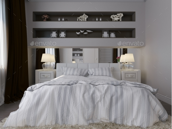 3D Render of a White Bedroom in Classical Style - Architecture 3D Renders
