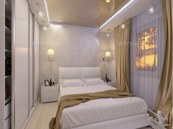 GraphicRiver 3D Illustration of a White Bedroom in Modern Style 21100978