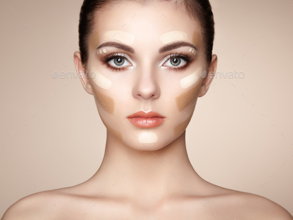 Beautiful woman face. Perfect makeup - Stock Photo - Images
