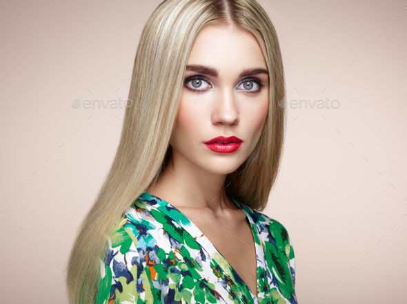 Fashion portrait of elegant woman with magnificent hair - Stock Photo - Images