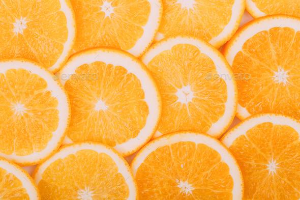 Orange Fruit Background. Summer Oranges. Healthy Food - Stock Photo - Images