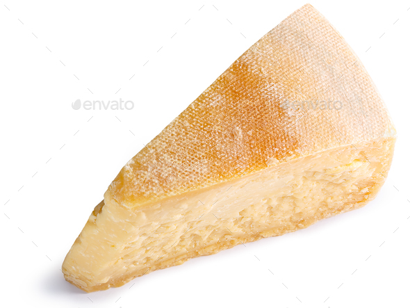 Parmesan cheese segment slice, paths, top - Stock Photo - Images