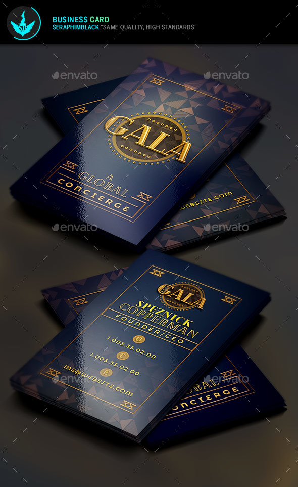 Gold Art Deco Business Card Template by SeraphimBlack | GraphicRiver