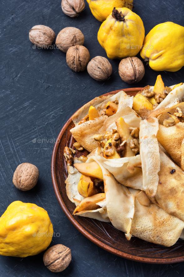 appetizing fruit pancakes - Stock Photo - Images