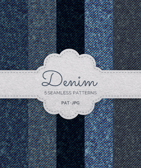 GraphicRiver 5 Seamless Denim Patterns 21101684
