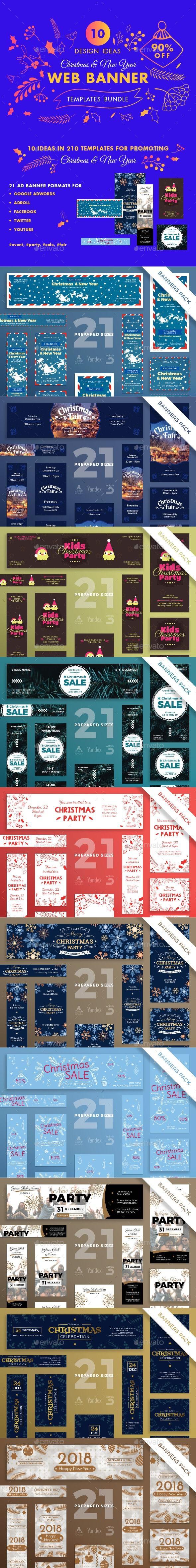 GraphicRiver Christmas Web Banner Design Templates Bundle 21092220
