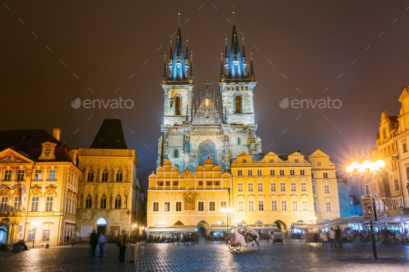 Prague, Czech Republic. Church Of Our Lady Before Tyn In Old Tow - Stock Photo - Images