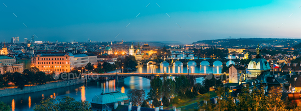 Panoramic View Of Cityscape Of Prague, Czech Republic. In The Ri - Stock Photo - Images