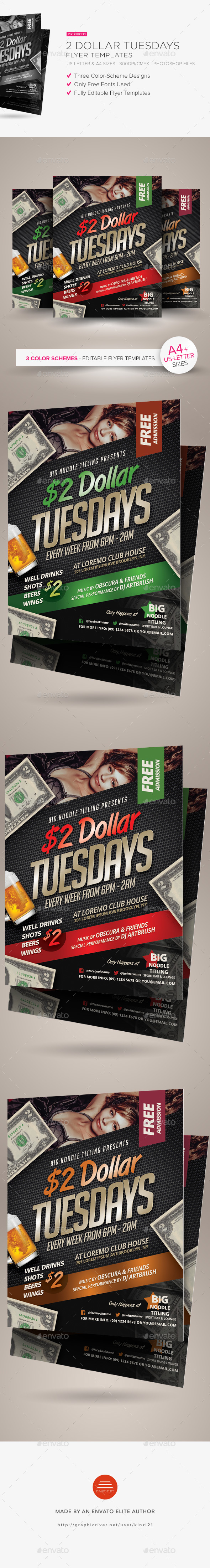 2 Dollar Tuesdays Flyer Templates - Clubs & Parties Events