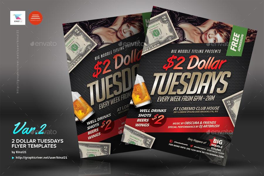 2 dollar tuesdays flyer templates by kinzi21