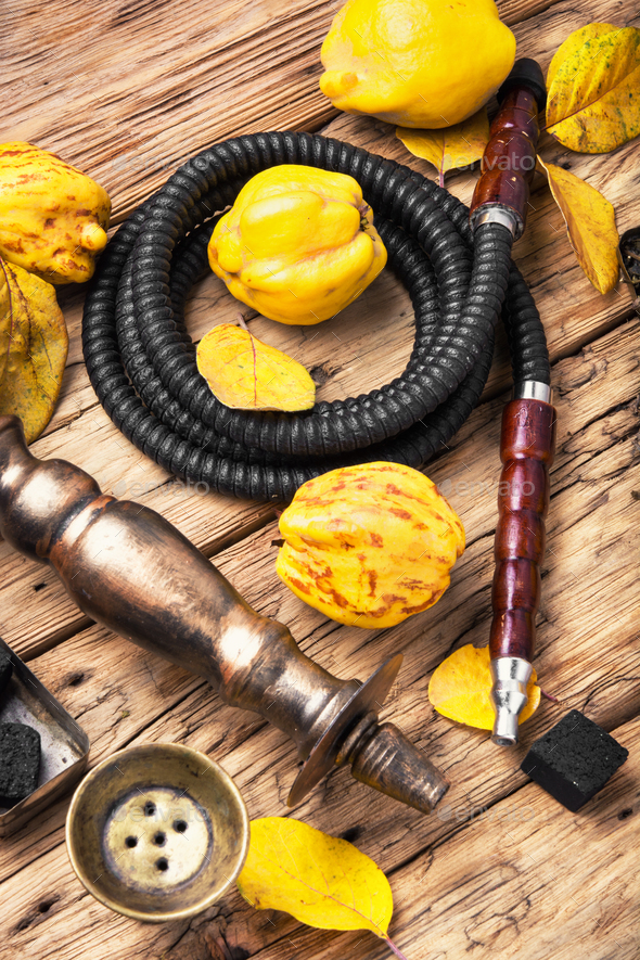 hookah shisha with quince - Stock Photo - Images