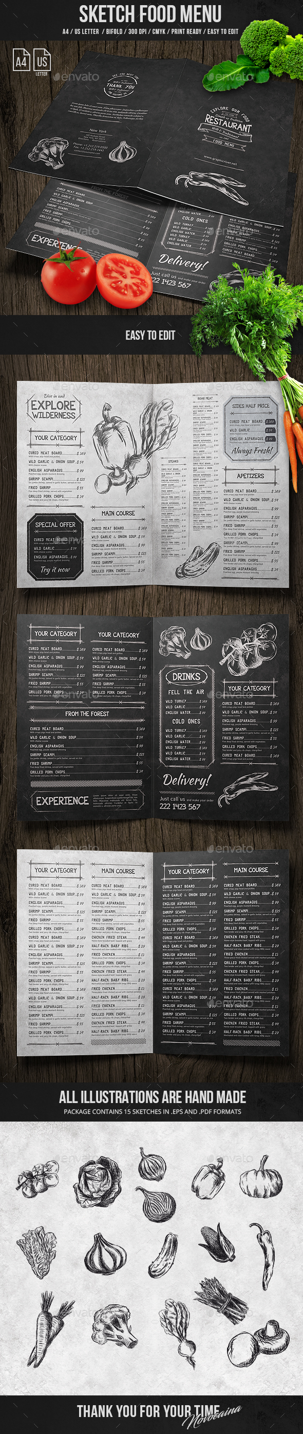 Sketch Bifold Menu - A4 and US Letter - Food Menus Print Templates