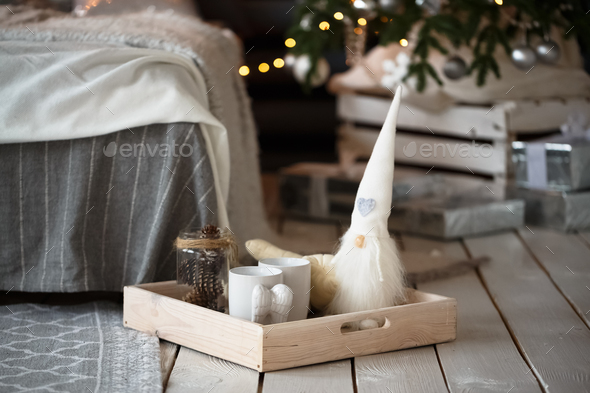 Rustic Christmas decorations on wooden surface - Stock Photo - Images