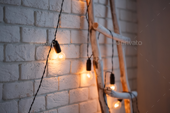 Merry christmas and new year brick wall background. white decor. Loft style - Stock Photo - Images