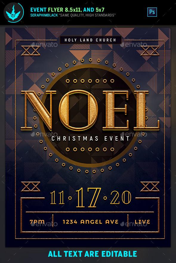 Noel Christmas Gala Flyer Template - Church Flyers