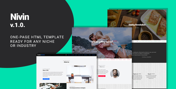 Nivin - Multipurpose Creative One-pager Template, Wedding, Business, Restaurant