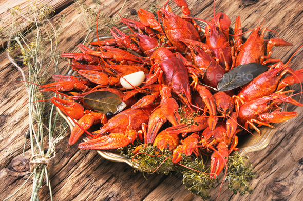 cooked crayfish in metal pan - Stock Photo - Images