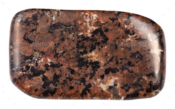 tumbled spreusteined urtite stone isolated - Stock Photo - Images