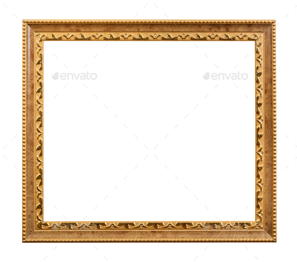 carved golden wooden picture frame isolated - Stock Photo - Images