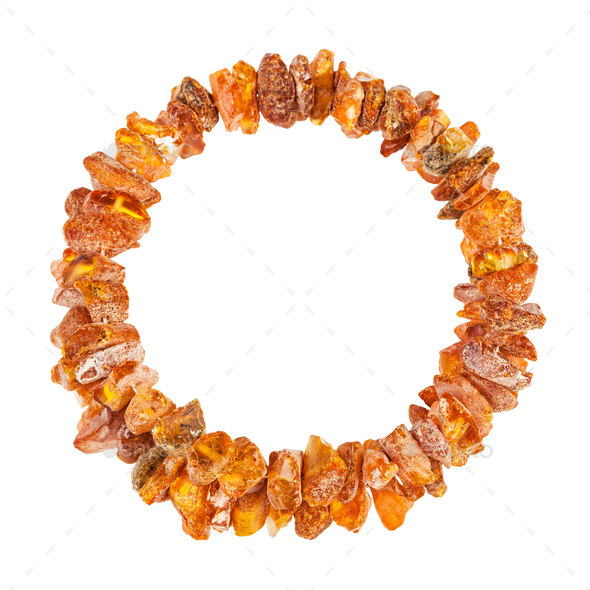 top view of bracelet from raw amber stones - Stock Photo - Images