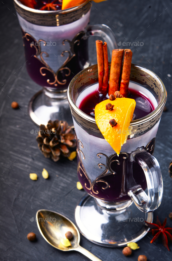 Mulled wine with orange - Stock Photo - Images