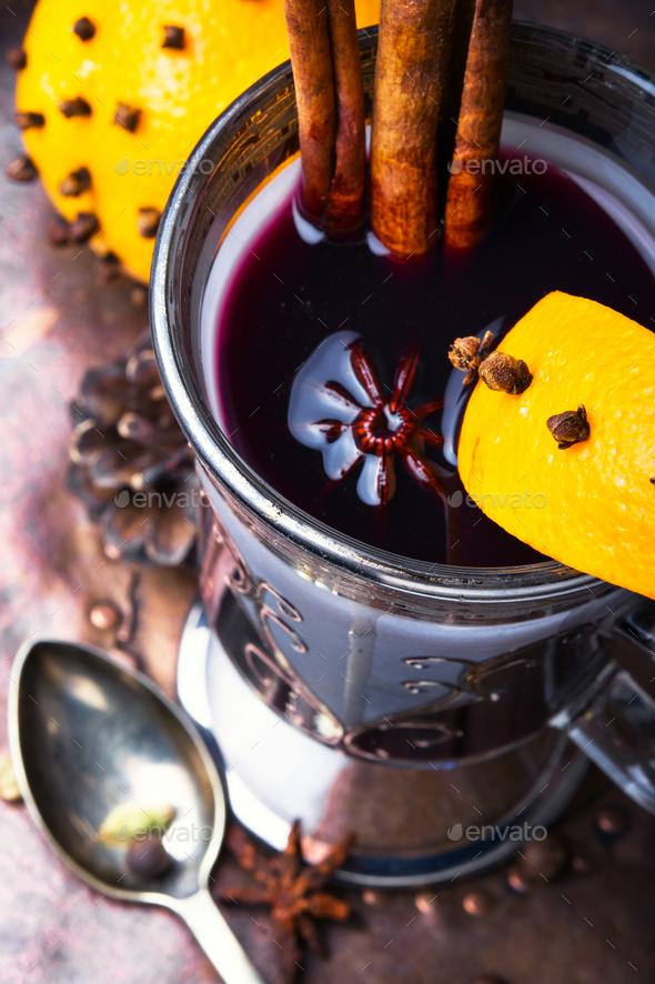 Mulled wine with orange - Stock Photo - Images