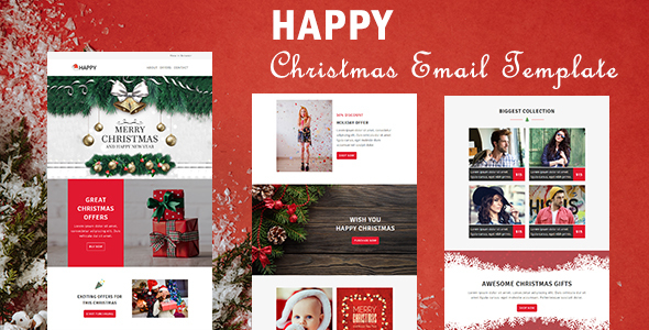 Image of Happy - Responsive Christmas & New Year Email Templates with Stampready Builder Access