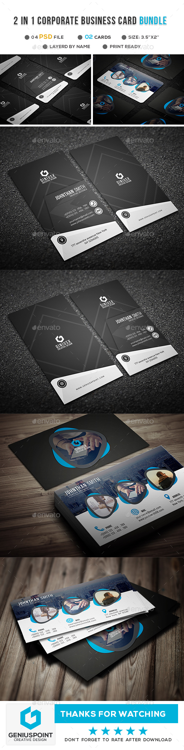 GraphicRiver 2 in 1 Corporate Business Card Bundle 21102296