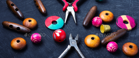mix of beads for handcraft - Stock Photo - Images