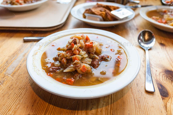 lunch with Kjotsupa - Icelandic Lamb Soup - Stock Photo - Images