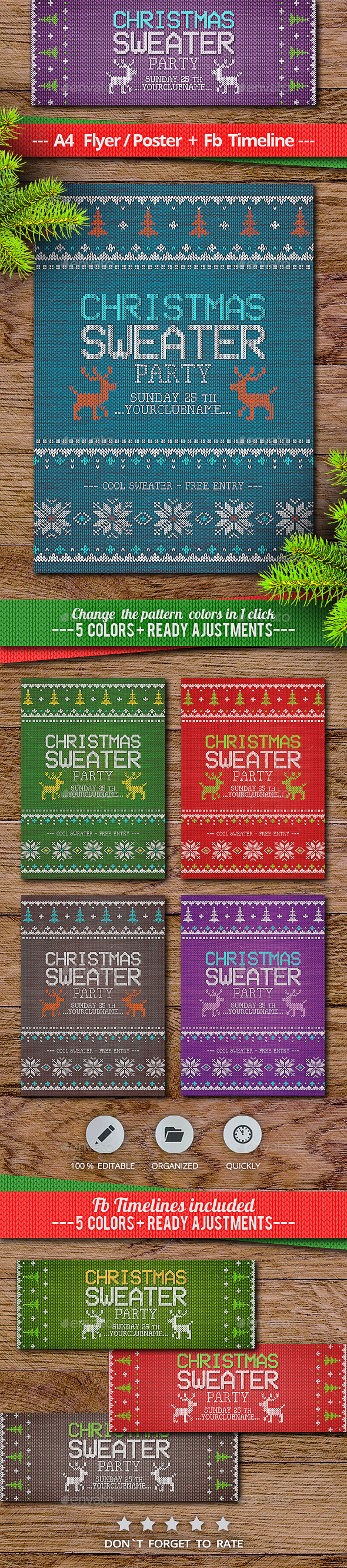 GraphicRiver Multicolor Christmas Sweater Party 21102519