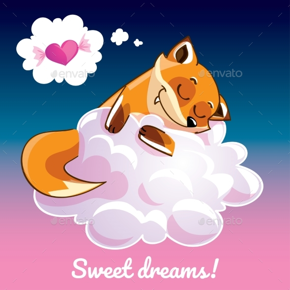 GraphicRiver Greeting Card with a Cartoon Fox on the Cloud 21102587