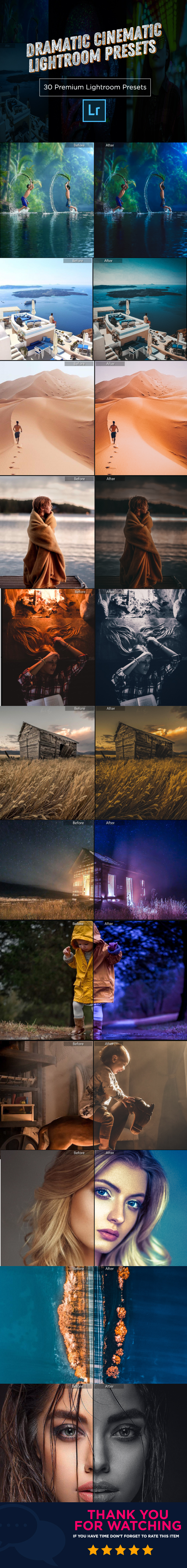 GraphicRiver 30 Dramatic Cinematic Lightroom Presets 21096849