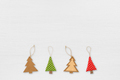Christmas tree decorations on white wooden table - PhotoDune Item for Sale