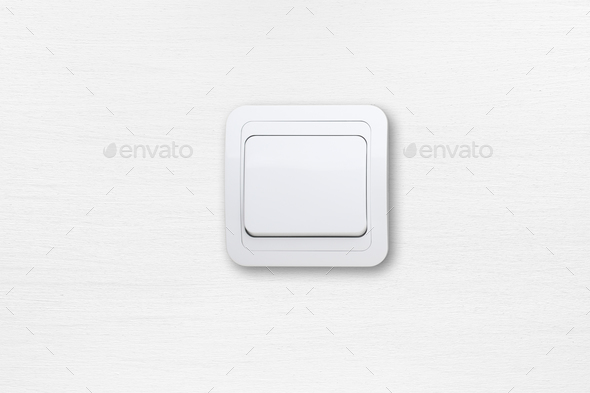 Light switch on white wall - Stock Photo - Images