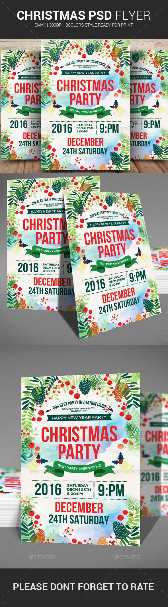 Christmas & Happy New Year Party Flyer - Events Flyers