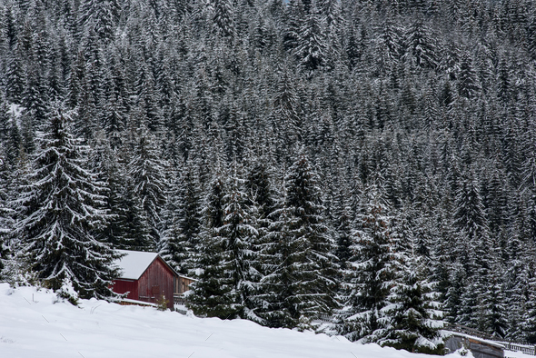 Snow covered mountain wooden hut - Stock Photo - Images