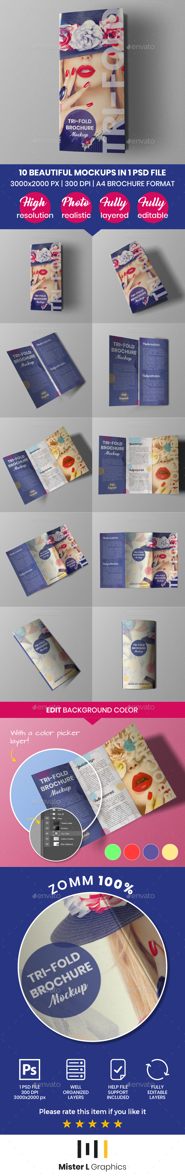 GraphicRiver A4 Trifold Brochure Mockup 21103403
