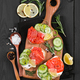 Bruschetta with salmon and fresh cucumber - PhotoDune Item for Sale
