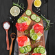 Bruschetta with salmon and fresh cucumber. - PhotoDune Item for Sale