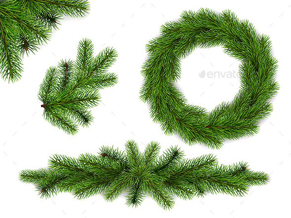 Set of Fir Tree Branches and Wreath - Christmas Seasons/Holidays