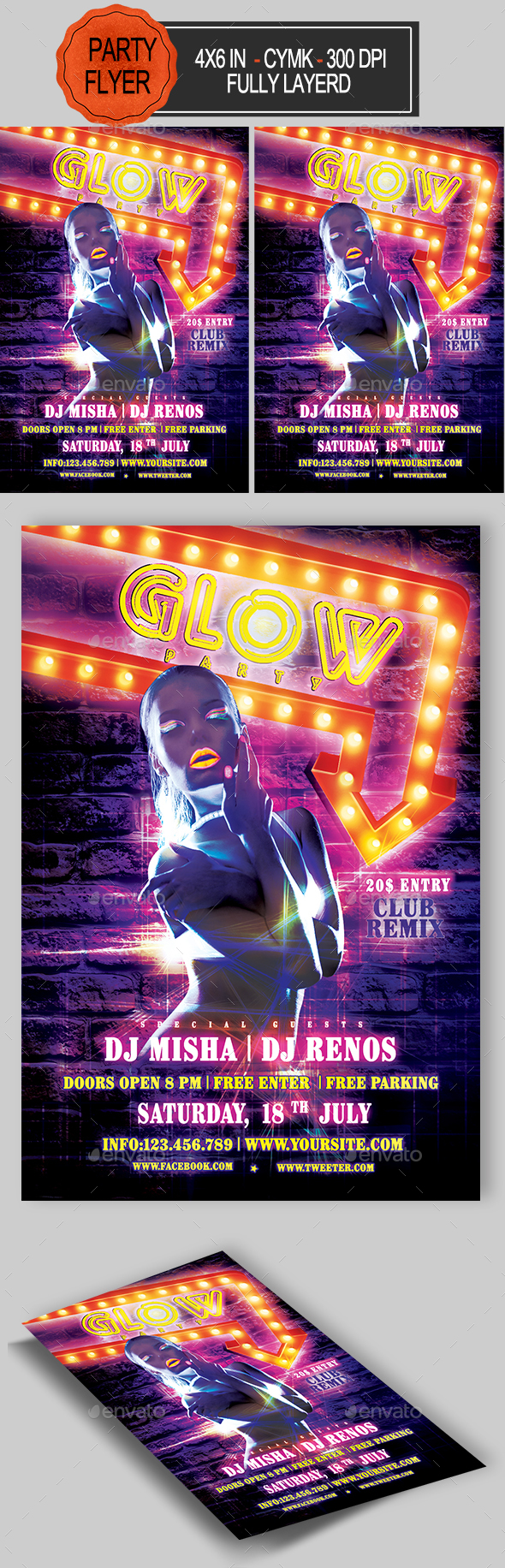 GraphicRiver Glow Party Flyer 21094715