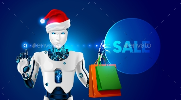 Robot in Santa Claus Hat Holding Gift Bags - Christmas Seasons/Holidays
