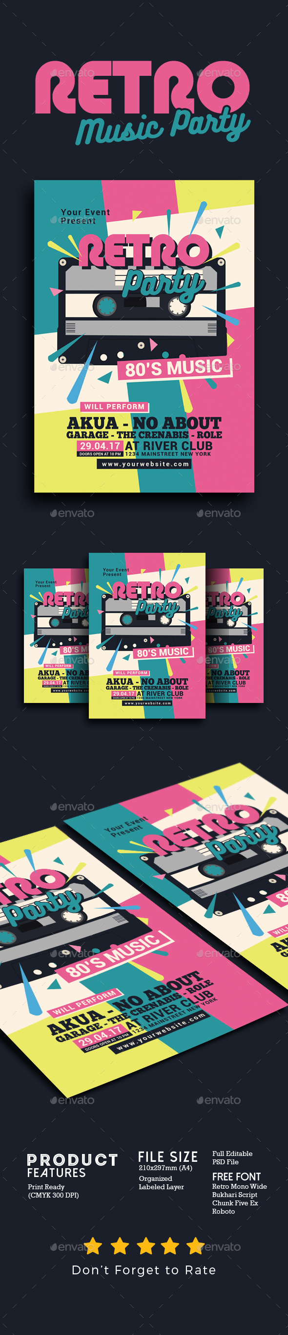 GraphicRiver 80's Retro Music Party Cassette 21104259