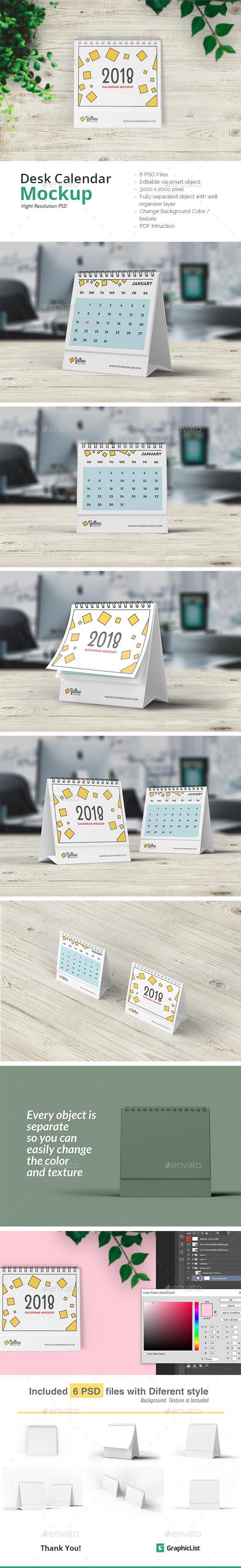 Desk Calendar Mock-Ups - Miscellaneous Print
