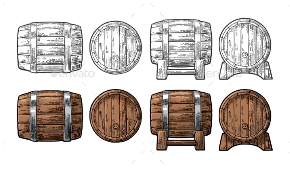 GraphicRiver Wooden Barrel Front and Side View Engraving Vector 21104758